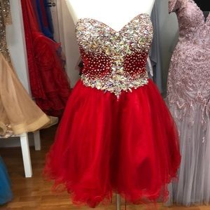 Red prom dress with rhinestones, tie corset back